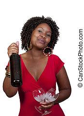 vrouw, wijntje