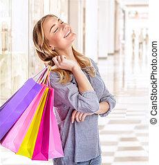vrouw winkelen, centrum
