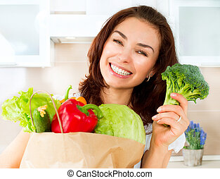 vrouw winkelen, groentes, jonge, dieet, concept, bag., ...