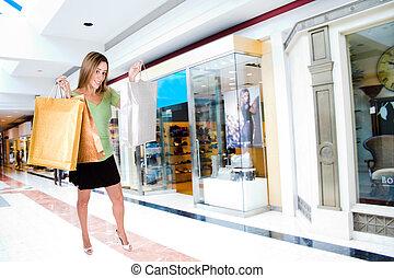 vrouw winkelen, in, mall