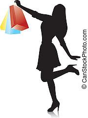 vrouw winkelen, jonge