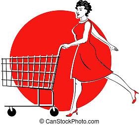 vrouw winkelen, kar