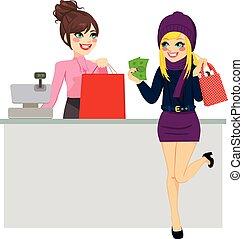 vrouw winkelen, lonend, met, contant