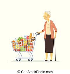 vrouw winkelen, mensen, -, vrijstaand, kar, illustratie, karakters, senior, spotprent
