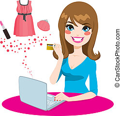vrouw winkelen, online