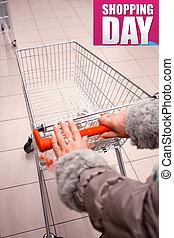 vrouw winkelen, op, de, supermarkt