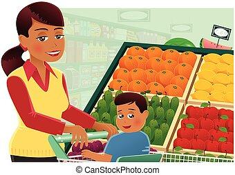 vrouw winkelen, op, supermarkt