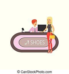 vrouw winkelen, schoentjes, kleurrijke, jonge, illustratie, mall, vector, schoen, meisje, winkel, aankoop