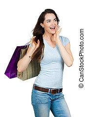 vrouw winkelen, verwonderd, vrolijke