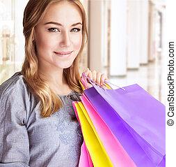 vrouw winkelen, vrolijke