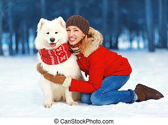 vrouw, winter, mensen, -, concept, mooi, kerstmis, hebben, vrolijke