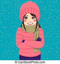 vrouw, winter, rillende