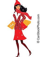 vrouw, winter, shoppen