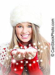 vrouw, winter, sneeuw, wensen, blazen, kerstmis