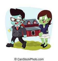 vrouw, woning, zombie, miniatuur, verdragend, zakenman
