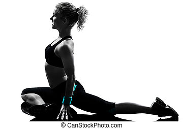 vrouw, workout, fitness, houding