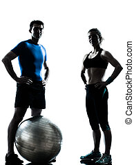 vrouw, workout, het uitoefenen, bal, fitness, man