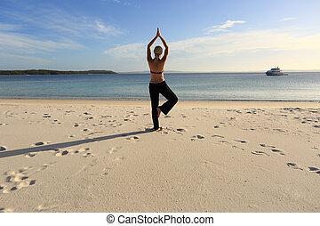 vrouw, yoga, been, pose, een, het in evenwicht brengen