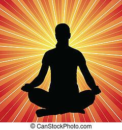 vrouw, yoga houding