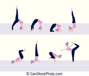 vrouw, yoga houding, praktijk, set, meditatie