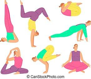 vrouw, yoga houding, verzameling, vector, fitness