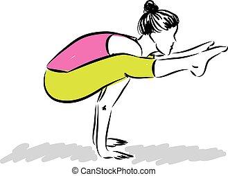 vrouw, yoga, illustratie, fitness