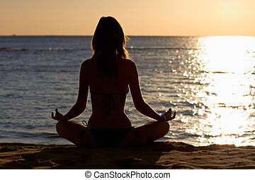 vrouw, yoga, lotus, kust, voorkant, meditatie