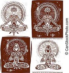 vrouw, yoga, lotus maniertje, meditation., man