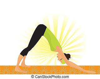"""vrouw, yoga, werkende , pose"""", jonge, zo, """"dog, genaamd, uit"""