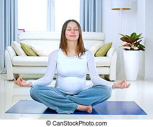 vrouw, yoga, zwangere , thuis, mooi