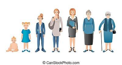 vrouw zaak, generatie, baby, vrouw, tiener, seniors.,...