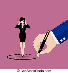 vrouw zaak, geverfde, groot, binnen, baas, stander, cirkel