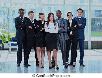 vrouw zaak, haar, jonge, achtergrond., team, vrolijke