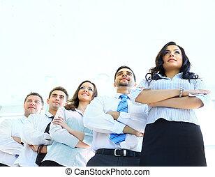 vrouw zaak, haar, jonge, achtergrond, team, vrolijke