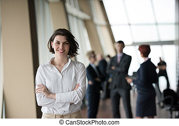 vrouw zaak, haar, jonge, team, voorkant