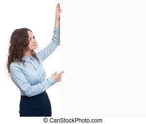 vrouw zaak, het tonen, signboard, jonge, leeg