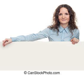 vrouw zaak, het tonen, signboard., vrijstaand, jonge, leeg, het glimlachen