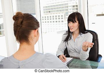 vrouw zaak, interviews, potentieel, werknemer, nieuw