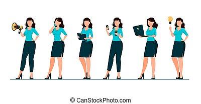 vrouw zaak, karakter, zes, set, maniertjes, spotprent