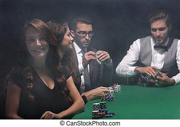 vrouw zaak, moderne, zittende , casino., craps lijst