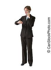 vrouw zaak, reeks, -, roepen, vervaardiging