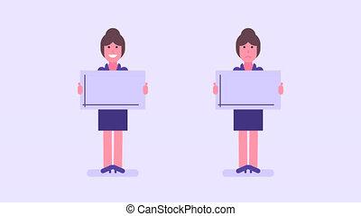 vrouw zaak, schedule., houden, meldingsbord, groeiende,...