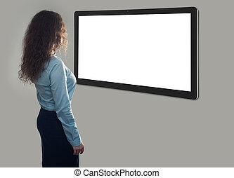 vrouw zaak, scherm, back, het kijken, leeg, aanzicht