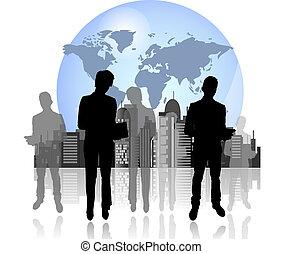 vrouw zaak, silhouettes, achtergrond, internationaal, man