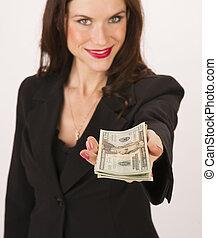 vrouw zaak, twintig dollar, contant, handen, u, rekeningen,...