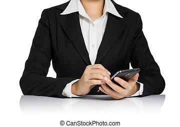 vrouw zaak, vrijstaand, schrijvende , schrijfstift, telefoon, pen, white., smart, secretaresse