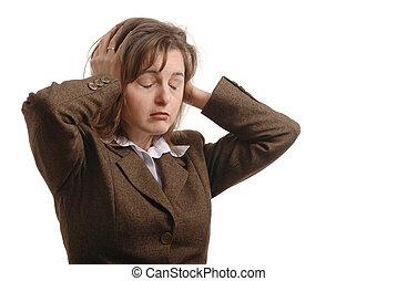 vrouw zaak, -, vrijstaand, strog, hoofdpijn
