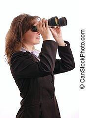 vrouw zaak, -, vrijstaand, verrekijker, aantrekkelijk