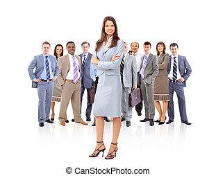 vrouw zaak, vrolijke , jonge, team, staand, haar, voorkant