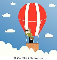 vrouw zaak, warme, balloon, verrekijker, concept, lucht